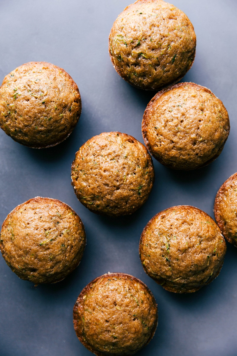 Overhead view of the baked Healthy Zucchini Muffins.