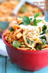 One skillet red and white pasta dish - under 30 minute dinner