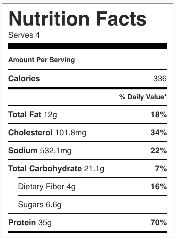 Nutrition facts in quinoa and vegetable dish