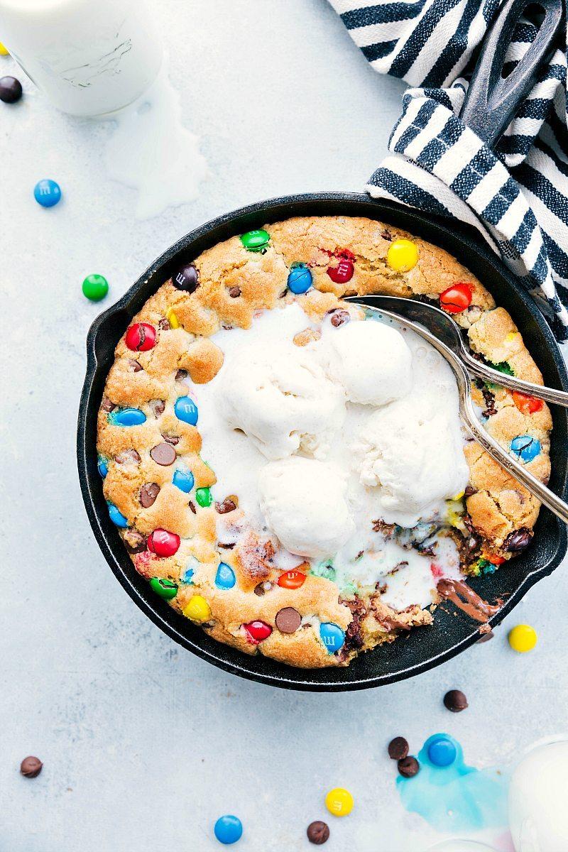 Overhead photo of pizookie with melty vanilla ice cream on top