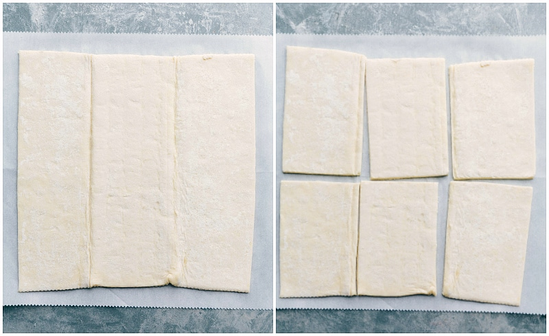 Process shot-- Image of the puff pastry sheet being cut up into 6 slices for these homemade Toaster Strudels.