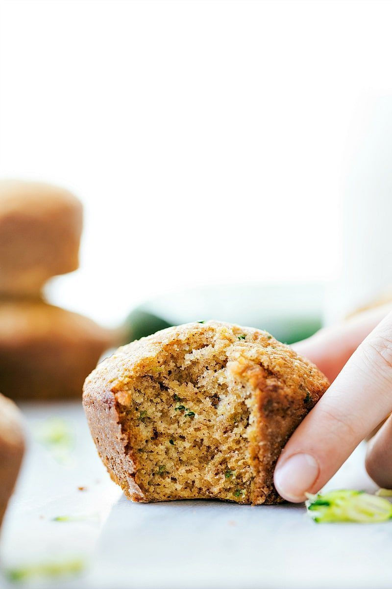 Healthy Greek Yogurt Zucchini Muffins made with better-for-you ingredients I chelseasmessyapron.com