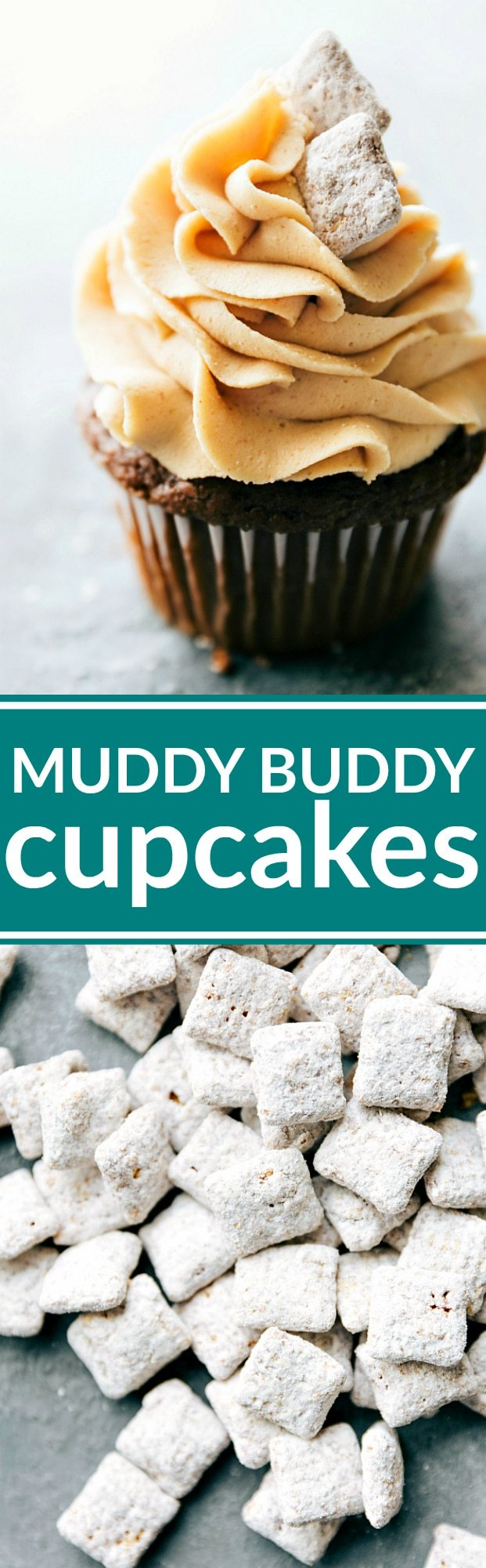 Muddy buddy cupcakes complete with a rich chocolate cupcake, peanut butter frosting, and muddy buddy garnish. The best chocolate peanut butter cupcakes! via chelseasmessyapron.com