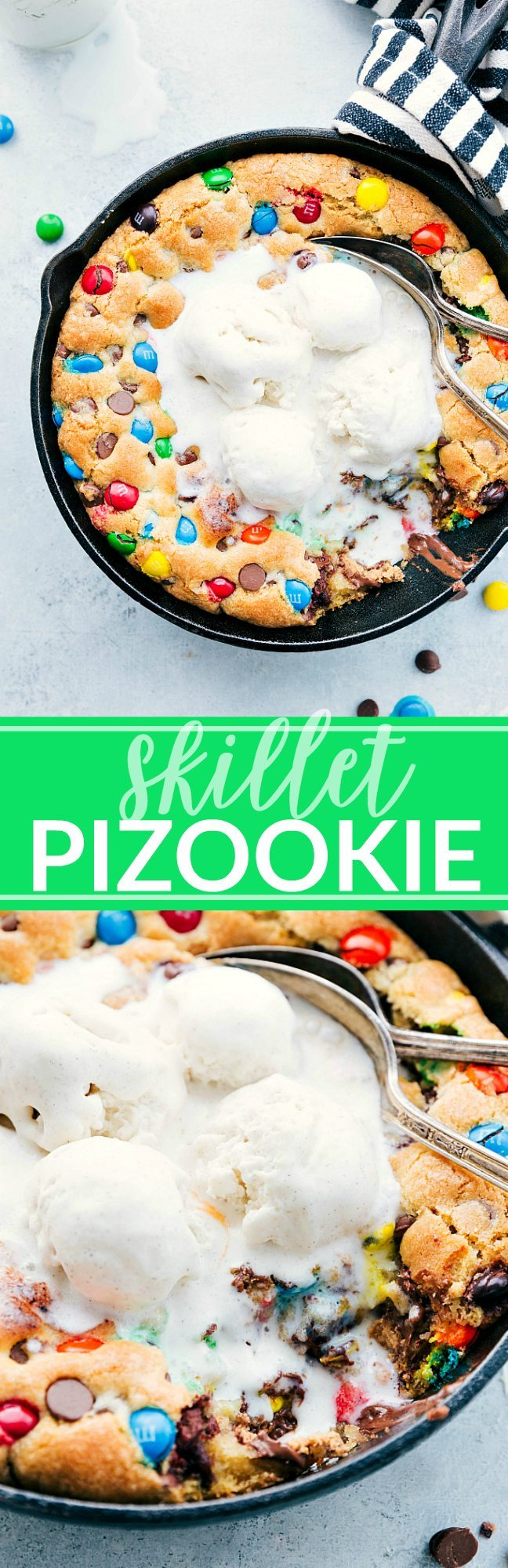 The ultimate BEST EVER PIZOOKIE! This skillet cookie is so easy to make and delicious! | chelseasmessyapron.com | #dessert #skillet #cookie #pizookie #kidfriendly #cazookie #easy #quick #chocolate #valentines #treat