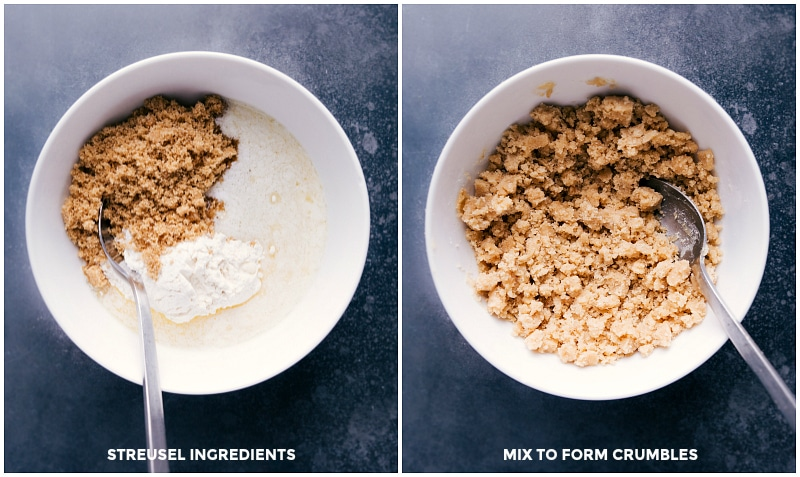 Image of the streusel topping before and after being mixed.
