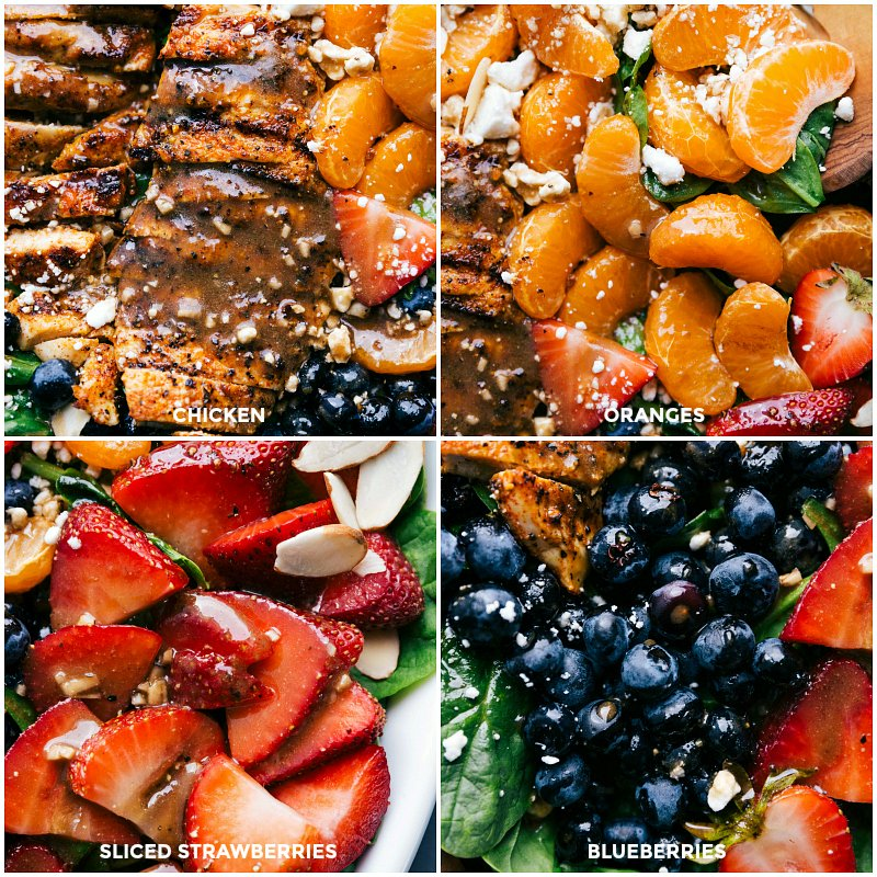 Views of the finished salad with individual closeups of the chicken, oranges, strawberries and blueberries.