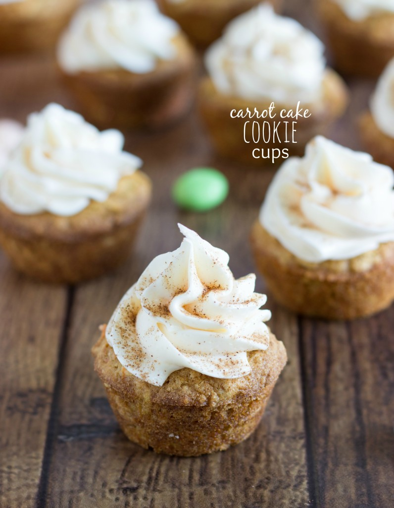 Carrot Cake Cookie Cups with a Cream Cheese Frosting! BEST carrot cake cookies ever!