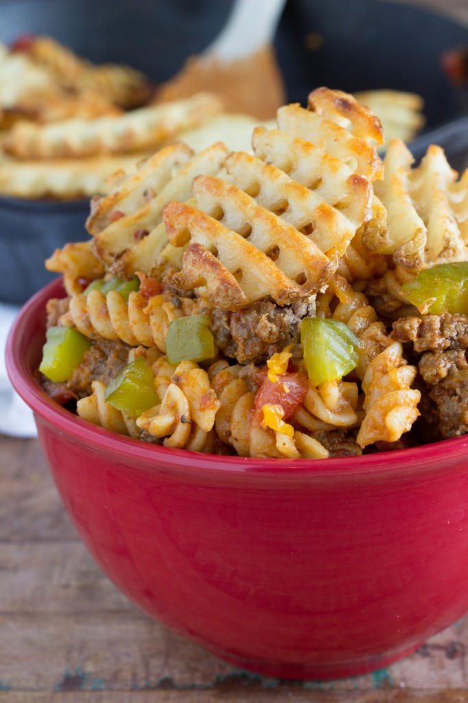Cheeseburger Casserole with Waffle Fries all made in a skillet by Chelsea's Messy Apron-1