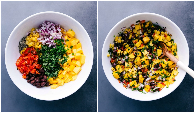 Mango salsa process shots-- images of all the ingredients in a bowl; then an image of it all mixed together.