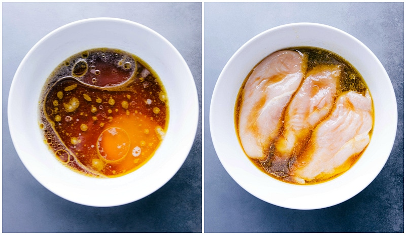 Process shots-- images of the marinade being made and the chicken being added to it.