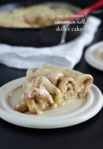 Easy, 30 minute cinnamon roll skillet cake