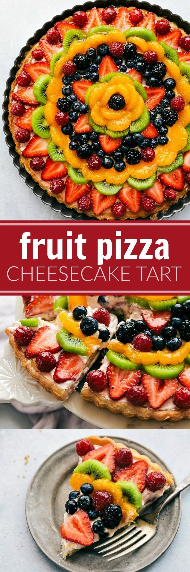 A twist on the famous Fruit Pizzas -- this one made in a tart pan with a sugar cookie crust and a delicious + light no-bake cheesecake filling via chelseasmessyapron.com