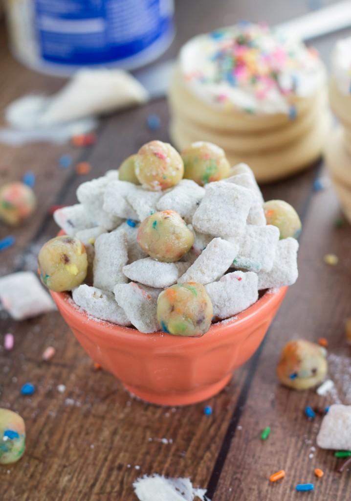 Sugar Cookie Muddy Buddies with 3 ingredient no bake sugar cookie balls