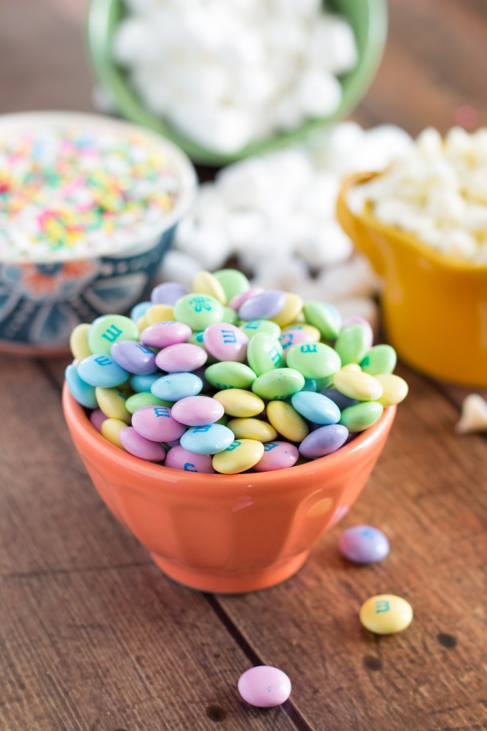 Delicious Confetti Cookie Bars with Spring M&M's and lots of gooey marshmallows!
