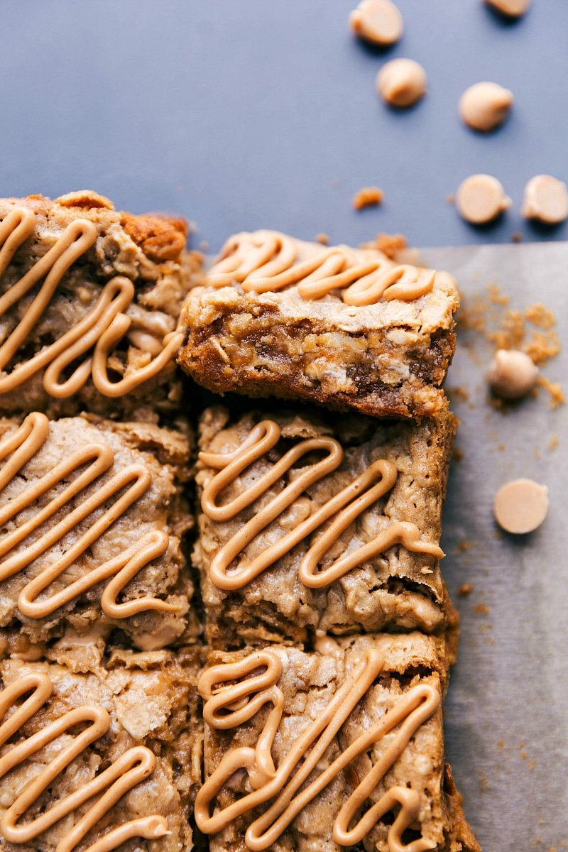 Image of the Oatmeal Bars showing the peanut butter glaze on top.