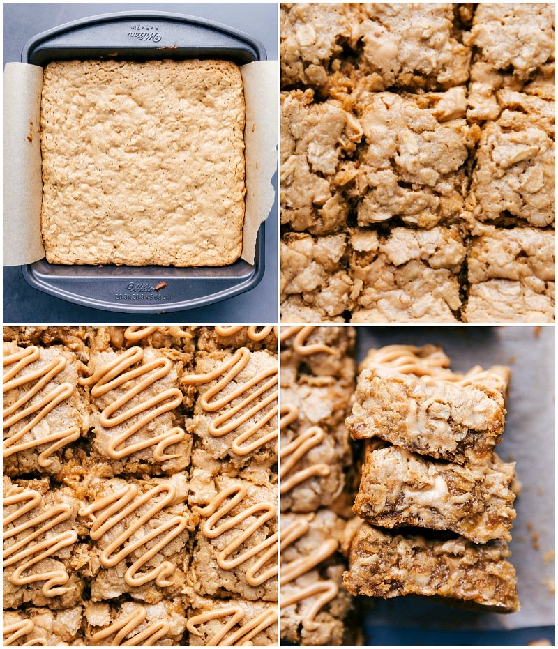 Images of the baked Oatmeal Bars still in the pan; cut into squares; and the peanut butter being added on top.