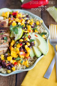 Quinoa Chicken Bowls with a Mango Salsa