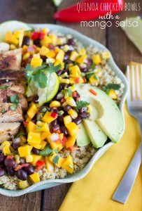 Quinoa Chicken Bowls with an easy Mango Salsa