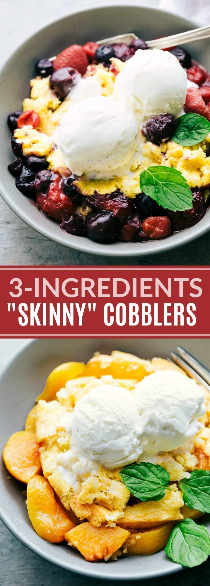 3-ingredients SKINNY FRUIT COBBLERS!! Lower calorie cobblers (berry and peach) that make a delicious and lighter summer treat! The peach cobbler requires only THREE ingredients (berry cobbler needs only FIVE ingredients). via chelseasmessyapron.com