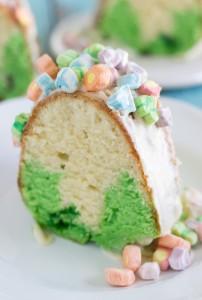 Slice of St. Patrick's Day Bundt Cake