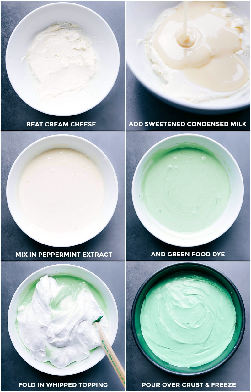 Process shots: Cream cheese that has been beaten; adding sweetened condensed milk; mixing in peppermint extract; adding green food coloring; folding in whipped topping; pouring filling over the crust and freezing until firm.