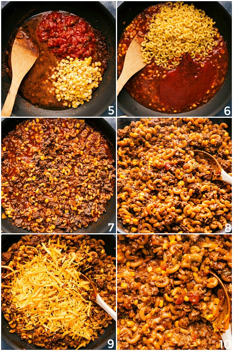 Process shots--images of the taco pasta recipe being made. Tomatos, corn, pasta, and cheese being added