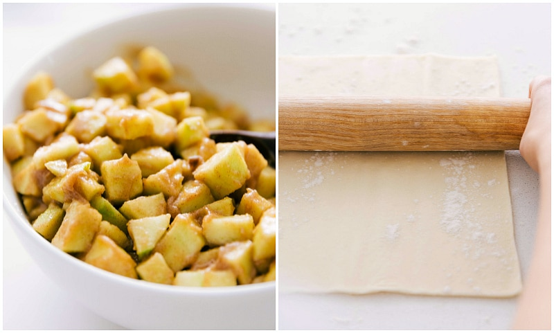 Step by Step Process Photo of making the apple turnovers -- showing the apple filling and the dough being rolled out
