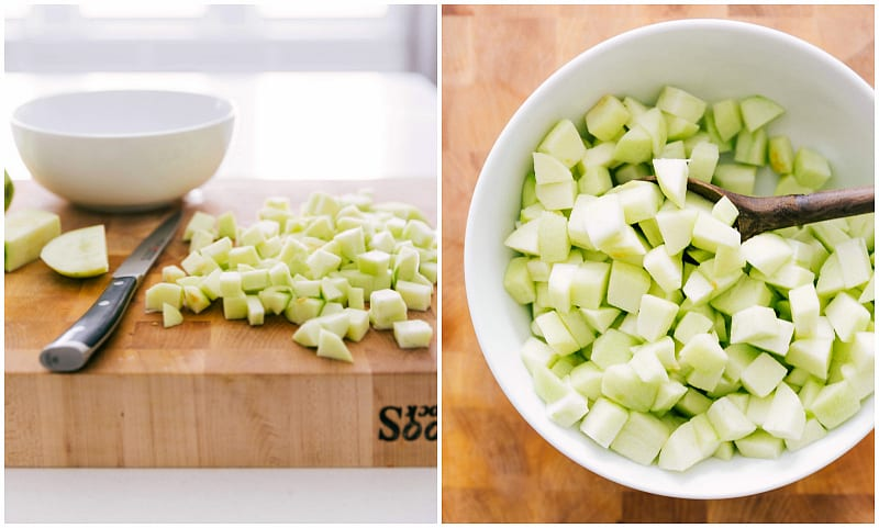 Step by Step Process Photo of making the apple turnover recipe -- showing the cut tart apples