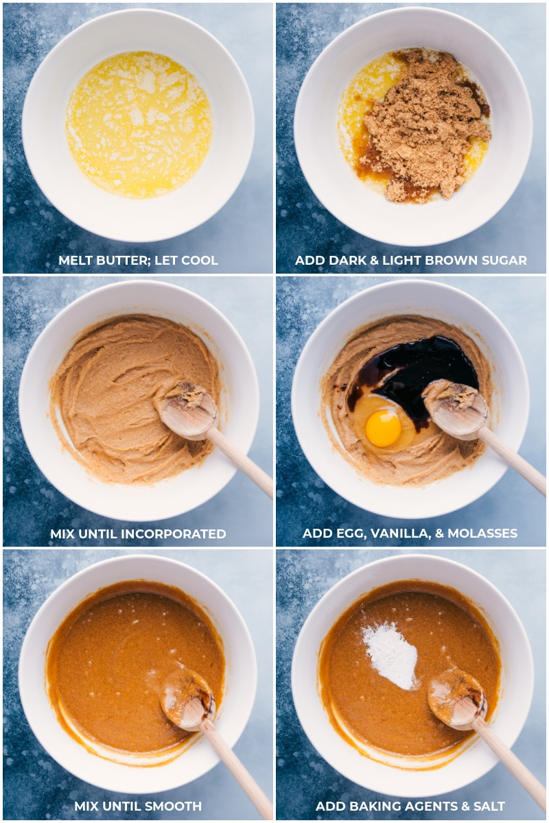 Process shots: mixing together butter and sugars then adding egg, vanilla, molasses, and baking agents and mixing it all together