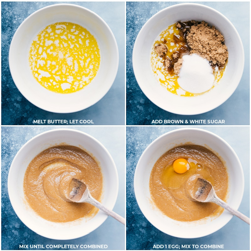 Process shots--the melted butter and sugars being added and mixed together; an egg being added and mixed together.