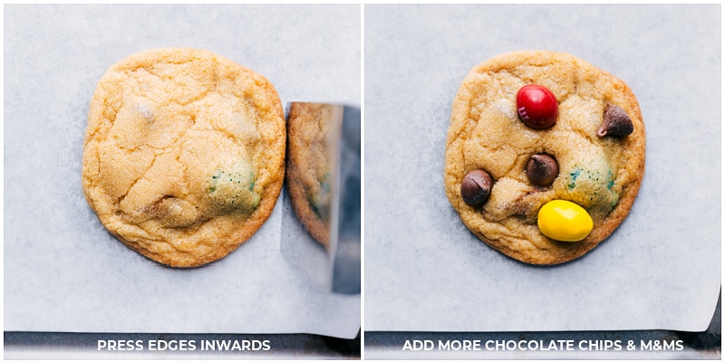 Process shots-- images of the cookies being pushed in; chocolate chips and M&M's being added
