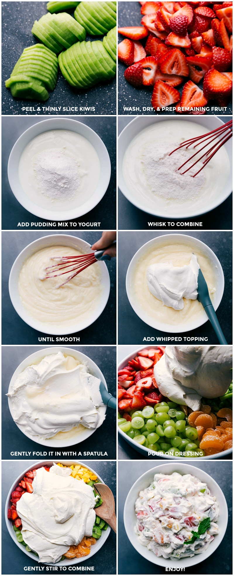 Process shots-- images of the fruit being sliced; the creamy mixture being made; and it all being mixed together.