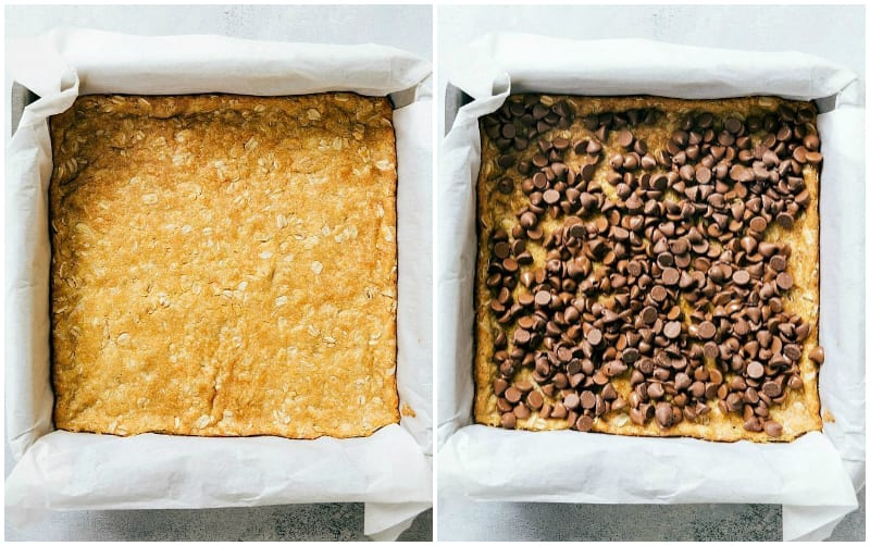 Step by step process of making carmelitas -- showing the based cookie baked and chocolate chips being added on top