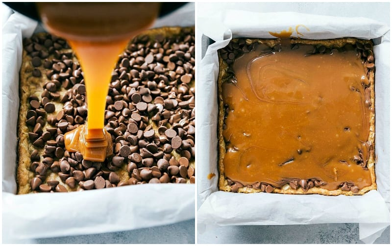 Step by step process of making carmelitas -- showing the caramel being poured on top and then smoothed over
