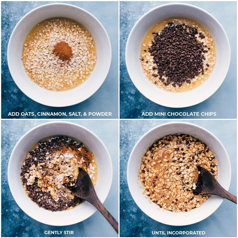 Process shots-- adding oats, cinnamon, salt, baking powder and chocolate chips to the oats; gently stir until incorporated