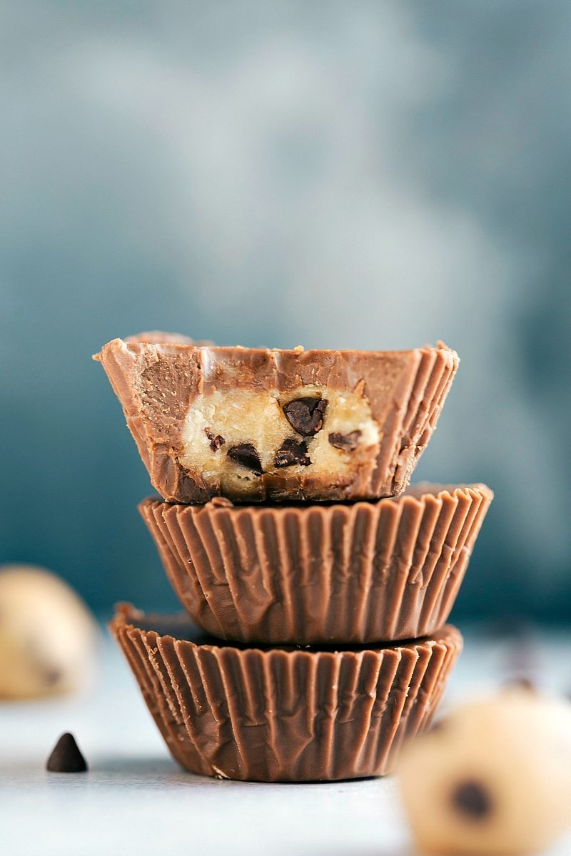 No Bake And Easy Chocolate Cups Filled With Edible Cookie Dough