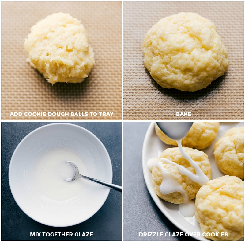 Process shots: Add cookie dough balls to the tray; bake; mix glaze together; drizzle glaze over cooled cookies.