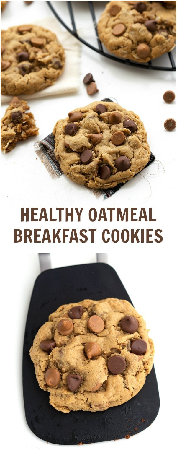 A gluten-free, healthy breakfast cookie made with peanut butter and old-fashioned oats as the base. There is no flour, no butter, and no oil included! These cookies can be ready in 20 minutes flat! via chelseasmessyapron.com