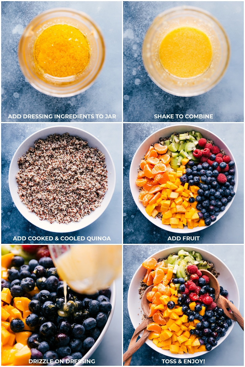 Process shots-- images of the dressing being made; the quinoa being added to a bowl; and all the fruit being added on top.