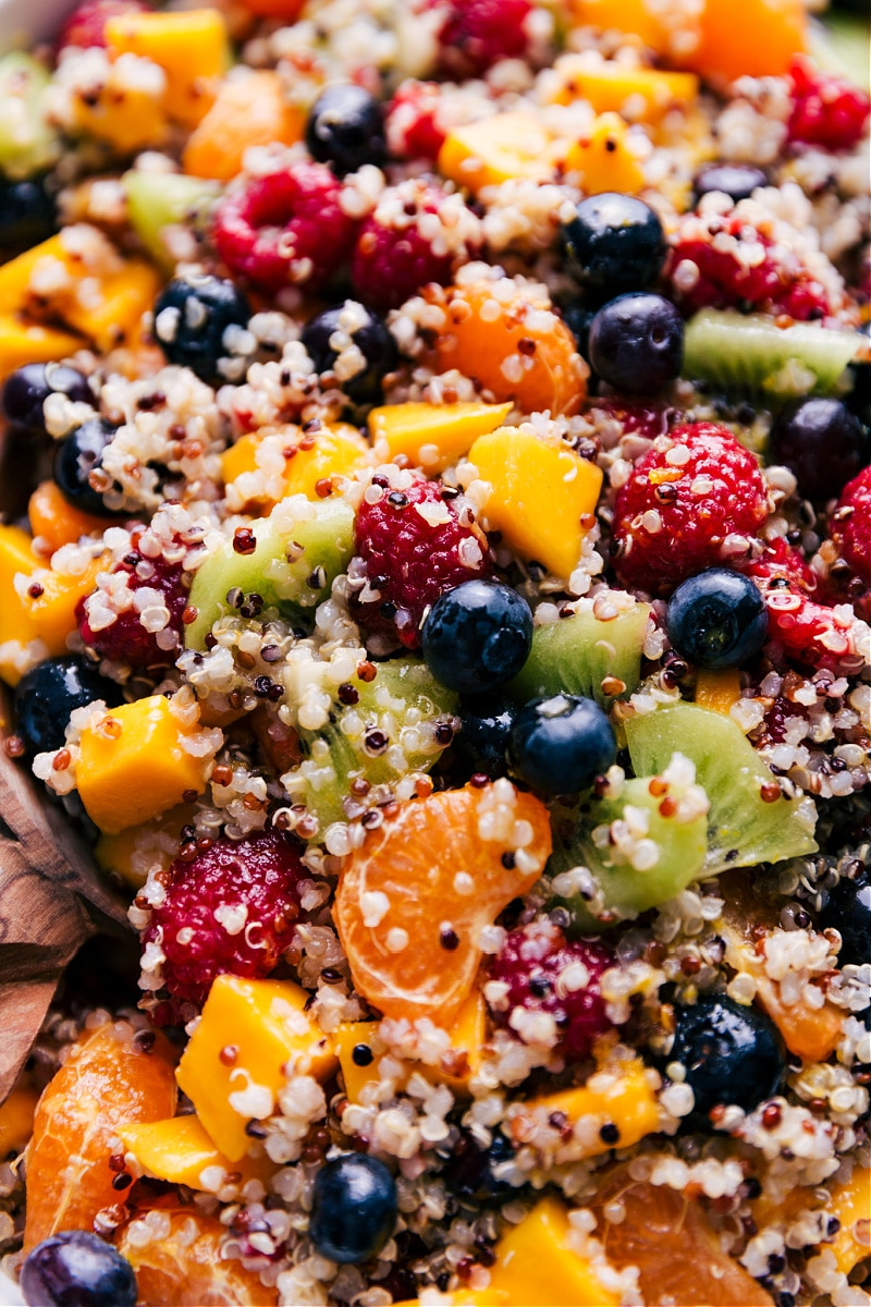 Up-close overhead image of the Quinoa Fruit Salad.