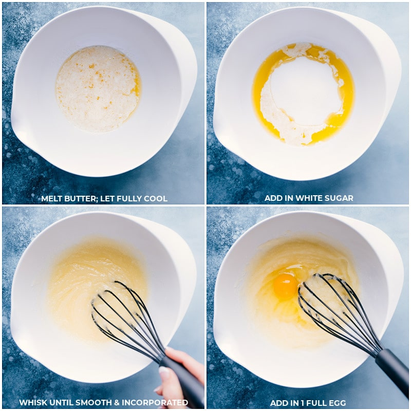 Process shots-- images of the melted butter, sugar, and eggs being added to a bowl and mixed together
