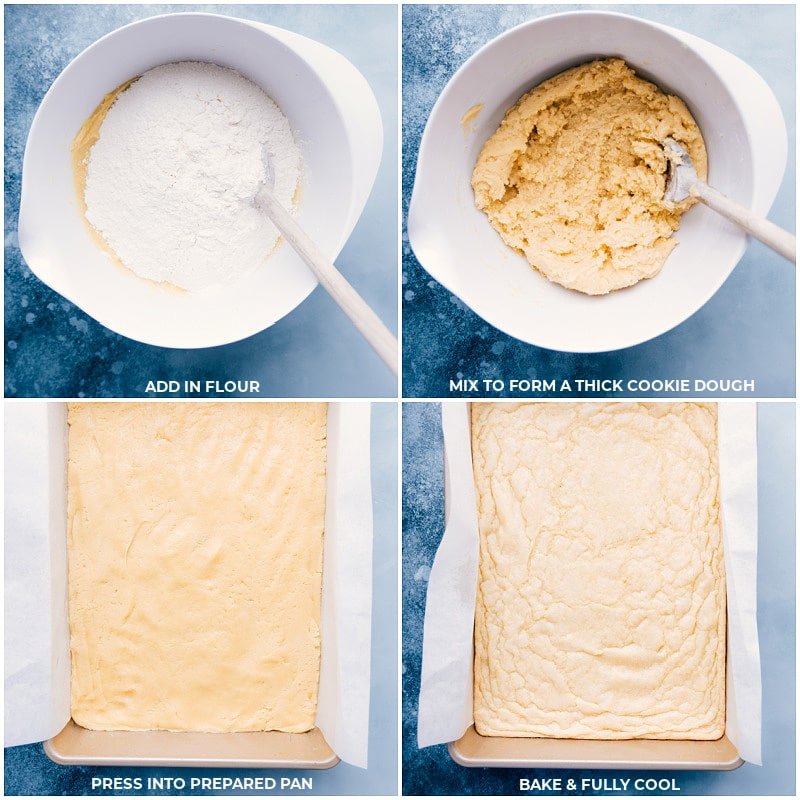 Process shots-- images of the flour being added and the dough being added to prepared pan and the sugar cookie bars being baked