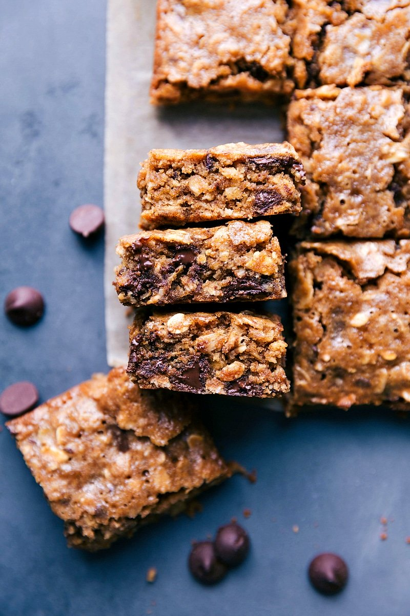 Picture of soft baked oatmeal Breakfast bars, cut into squares and ready to be eaten.