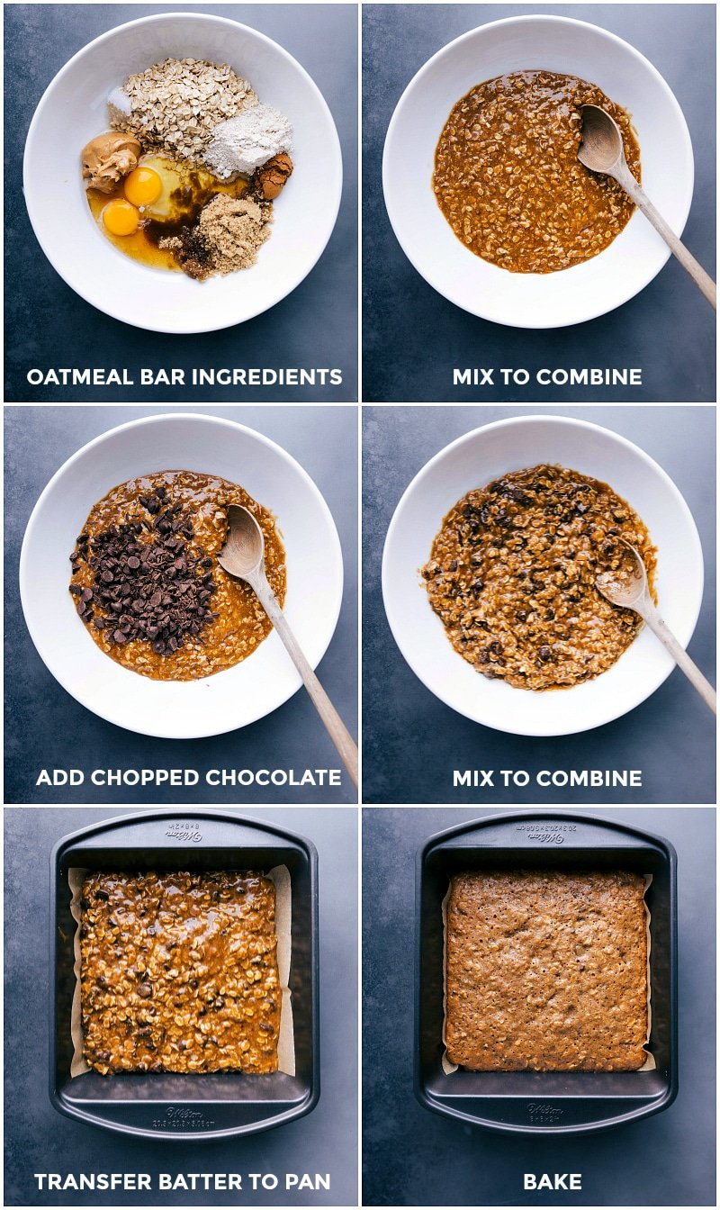 Process shots-- images of all the ingredients going in a bowl; being mixed together; and being transferred to a pan to bake.