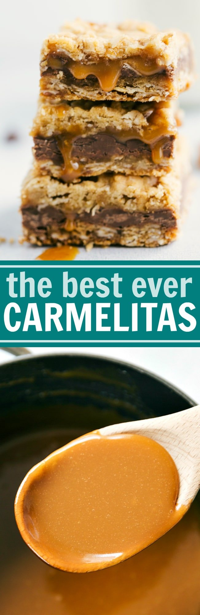 The BEST EVER Carmelitas -- oatmeal bars with a thick layer of milk chocolate and creamy caramel. These bars can be prepared in 20 minutes or less!! via chelseasmessyapron.com #carmelita #carmelitas #dessert #baking #holiday #bar #easy #quick