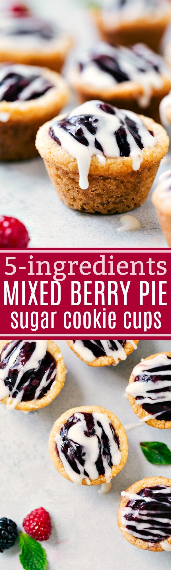 5-ingredient miniature desserts -- mini sugar cookie cups filled with mixed berry pie filling and drizzled in a pie glaze. I chelseasmessyapron.com