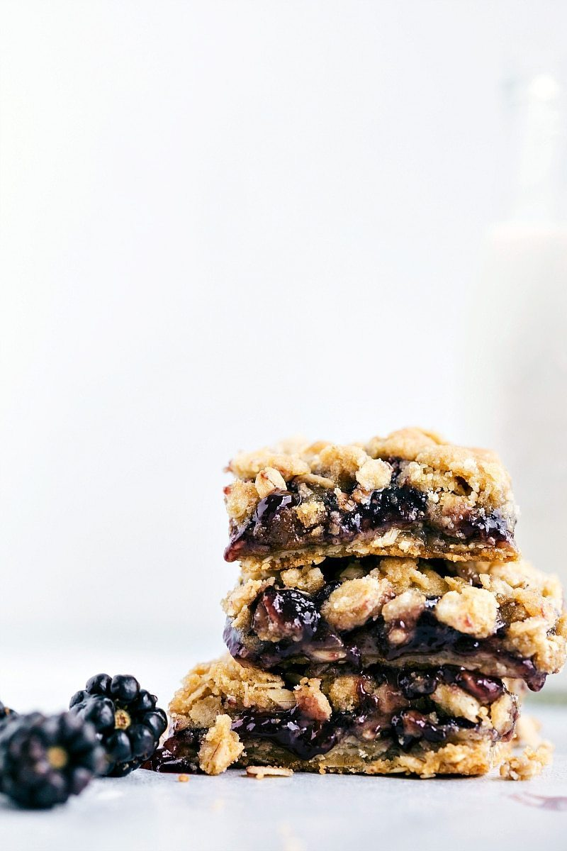 6-INGREDIENT Oatmeal Cookie Jam Bars!! via chelseasmessyapron.com