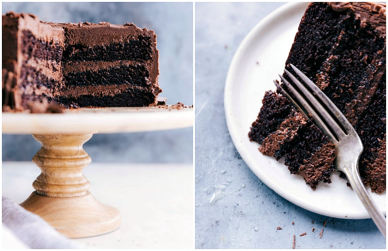 Image of the inside of the cake and a slice of the cake with a bite being taken out of it