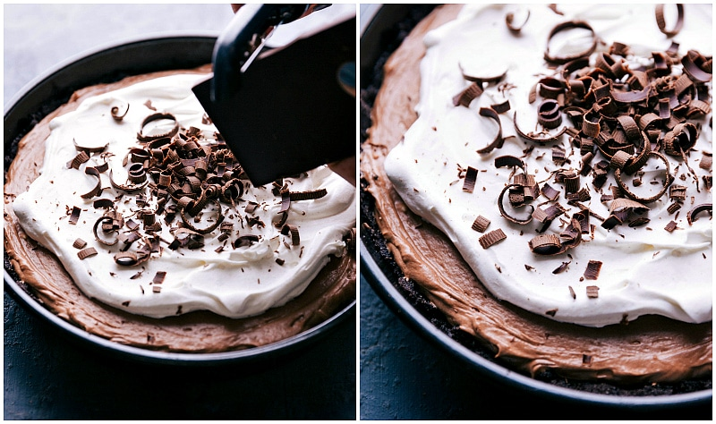 Images of a chocolate bar being shaved on top of the pie