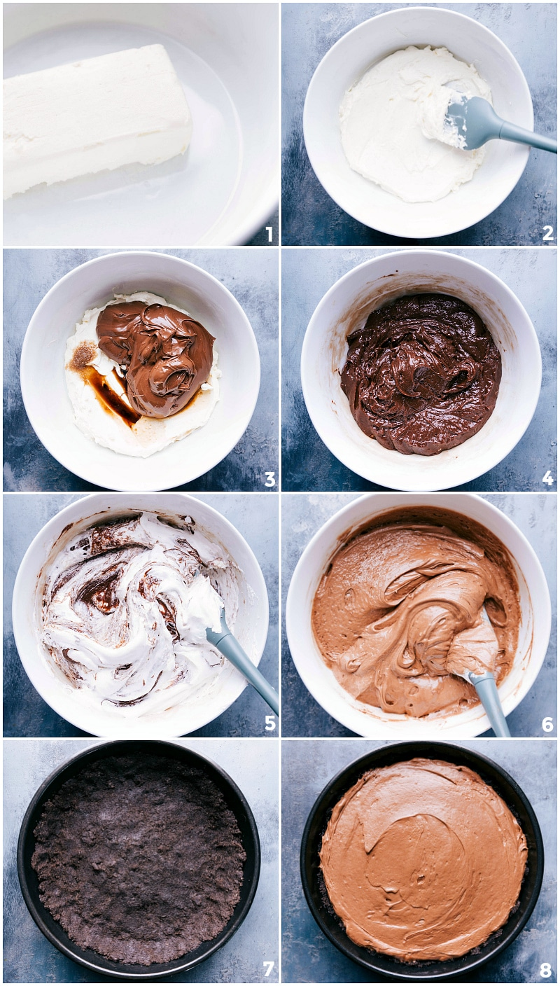Process shots-- images of the chocolate hazelnut filling being made and added to the crust.